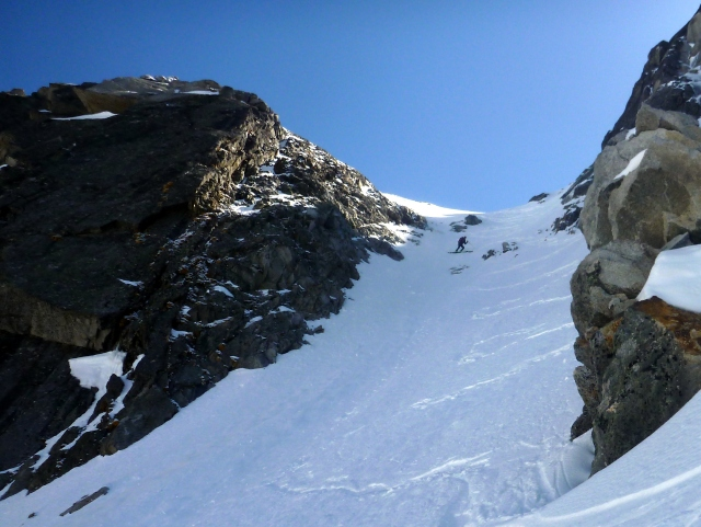 Mike on Nantillons exit couloir