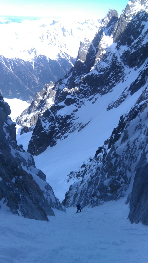 Grant in lower couloir of Col du Plan