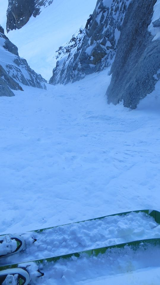 Grantplanks in Col du Plan exit couloir