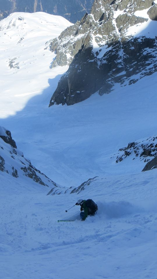 Pete at the bottom of Col du Plan exit couloir