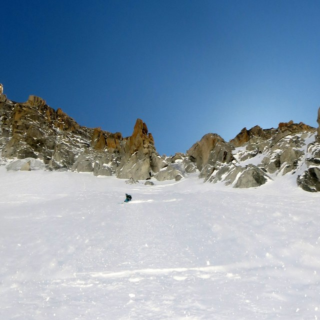 Looking back up at the ice crux of the Tour Ronde north face