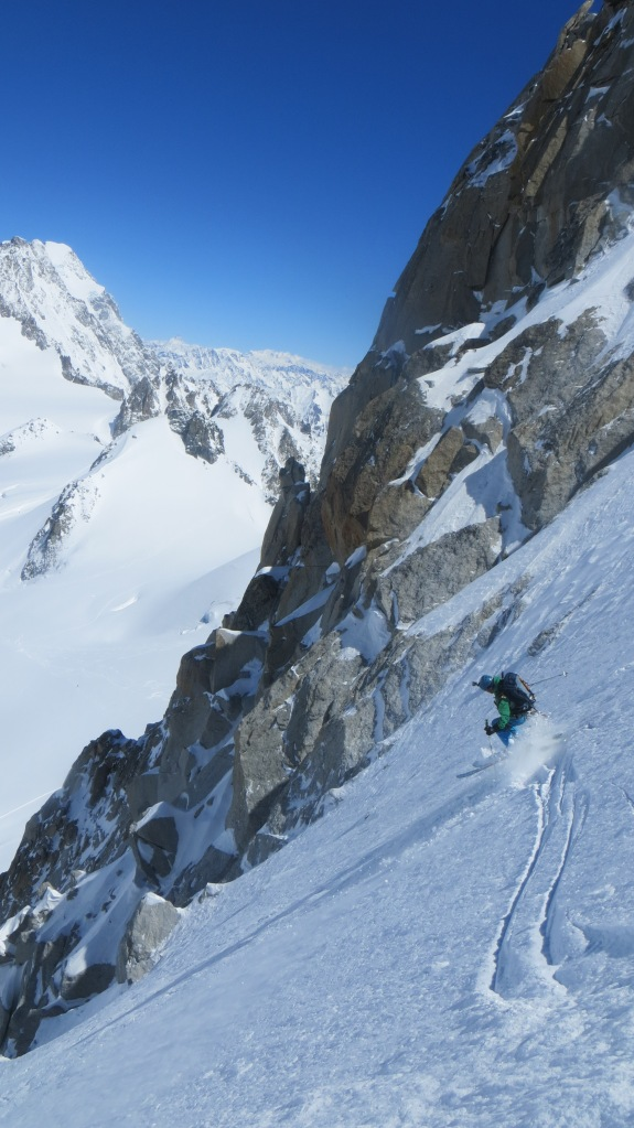 Tour Ronde north face, centre of upper snowfield
